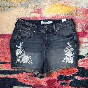 Torrid Boho Embroidered Cut-off Denim Shorts